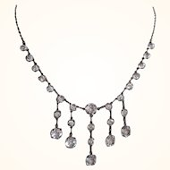 Art Deco Sterling Silver Foilless Clear Crystal Drop Necklace