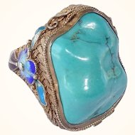 Gorgeous Vintage Chinese Vermeil Sterling Silver Filigree Enamel Turquoise Ring