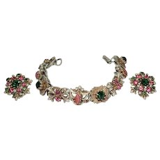 Vintage Florenza White Enamel & Rhinestone Maltese Cross & Fleur de Lis Bracelet & Earrings