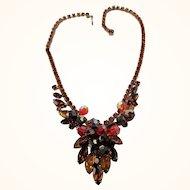 Vintage D&E Juliana Topaz & AB Rhinestone & Crystal Dangle Necklace