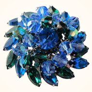Vintage D&E Juliana Blue & Green Rhinestone & Crystal Dangles Pin