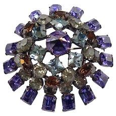 Vintage Signed Schreiner Purple & Smokey Rhinestone Pin 3D