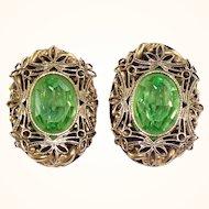 Rare Vintage Weiss Green Rhinestone Filigree Earrings