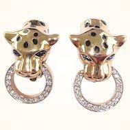 Rare Vintage Carolee Enamel & Rhinestone Leopard Door Knocker Earrings