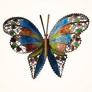 Vintage Italian 800 Silver Plique A Jour Enamel Filigree Butterfly Pin