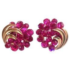 Vintage Trifari Fuchsia Briolette Crystal Earrings