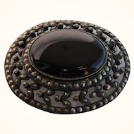 Gorgeous Large Sterling Marcasite & Onyx Brooch Pin