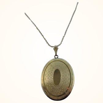 """Large Vintage Gold Filled Ornate Locket Necklace-30"""""""