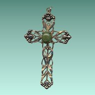 Large Ornate Cross Pendant with Jade Cabochon – Vintage Creed Sterling