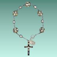 Dazzling Sterling & Rhinestone Bead Bracelet – St. Christopher Medal