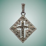 Lovely Sterling & Marcasite Cross Pendant with Fancy Bail