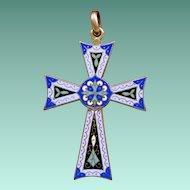 Colorful Brass & Cloisonne Enamel & Engraved Pattee Cross – Reversible