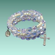 Sparkling Sterling Silver & Aurora Borealis Rosary Bracelet