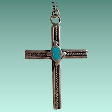 Vintage Sterling Artisanal Cross Pendant – Native American Design