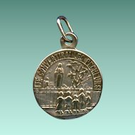 """Scarce Vintage Silver Pilgrimage Medal – Our Lady of Beauraing – """"I Will Convert Sinners"""""""