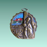 """Rare Art Deco """"Our Lady of the Alps"""" Spinner Medal"""