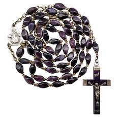 Art Deco Lourdes Art Glass Catholic Rosary