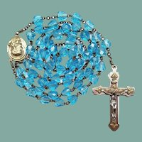 Vintage Aqua Glass Scapular Catholic Rosary | 41 Grams