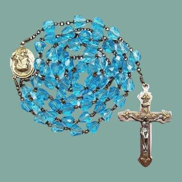 Vintage Aqua Glass Scapular Catholic Rosary | 41 Grams