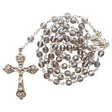 Stunning Vintage Sterling & Gray Crystal Catholic Rosary – Carved Rose Motif – 54 Grams