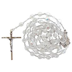 St. Anne de Beaupre Sterling & Crystal Vintage Catholic Rosary | 68 Grams