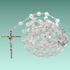 Sparkling Vintage Sterling & Crystal St. Anne de Beaupre Catholic Rosary – 68 Grams