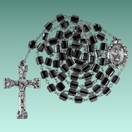Vintage Catamore Sterling Catholic Rosary – Black-Core Crystal Beads – 50 Sparkling Grams