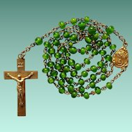 1920s Gilded Vintage Catholic Rosary – Handmade Gorgeous Grass Green Beads