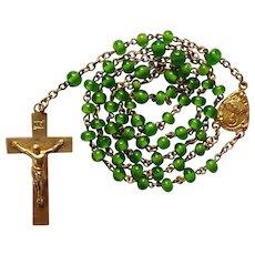 1920s Gilded Vintage Catholic Rosary – Handmade Gorgeous Grass Green Beads