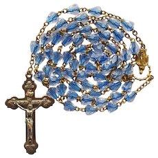 Vintage Sparkling Blue-Core Glass Catholic Rosary
