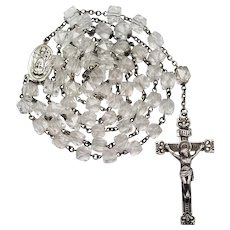 Vintage Rosary Swift & Fisher Sterling & Crystal Cube Beads | Our Lady of Fatima | 50 Grams