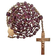 Gold-Filled Amethyst Glass Vintage Catholic Rosary | Rare Immaculate Heart Center