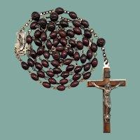 Vintage Italian Mahogany Brown Horn Catholic Rosary