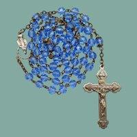 1970s Blue Glass Catholic Rosary | Figural Center
