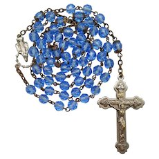 1970s Blue Glass Catholic Rosary | Figural Center