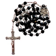 Vintage Sterling & Black Glass Catholic Rosary