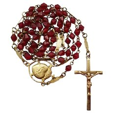 Vintage Gilded Brass & Red Glass Catholic Rosary | Sacred Heart Center