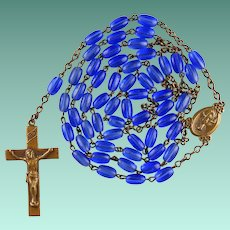 Vintage Czech Cobalt Glass & Brass Copper Catholic Rosary