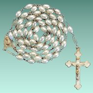Lustrous Vintage Glass Pearl & Brass Catholic Rosary – 40 Grams of 40s Elegance