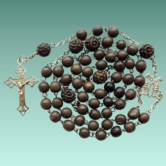 Antique Art Nouveau Silver & Wood Catholic Rosary – Carved Paters