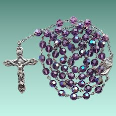 Vintage Sterling & Purple AB Glass Catholic Rosary – 47 Grams