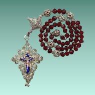 Superb Antique 19C Bavarian Filigree Catholic Rosenkranz Rosary – Enamel Crucifix & Credo Cross – Hallmarked Silver