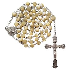 Sterling Mother-of-Pearl Nacre Catholic Rosary | Saints Peter & Paul Case
