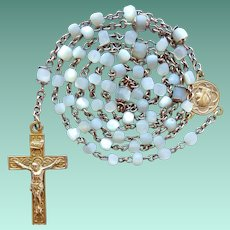Vintage 1920s Gilded Mother of Pearl Catholic Rosary