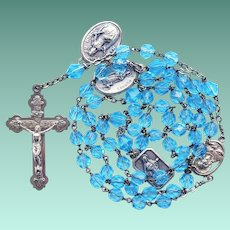 Vintage French Aqua Glass Catholic Rosary with Devotional Medals – 47 Grams