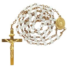Vintage Goldtone & Opaque White Glass Catholic Rosary