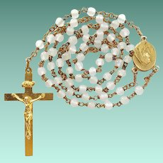 Sweet Vintage Gold Tone Catholic Rosary – Opaque White Glass Beads