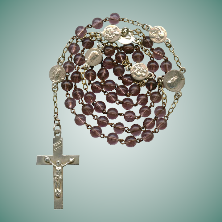 Petite Vintage Pale Grape Glass Catholic Rosary with Pater Medals
