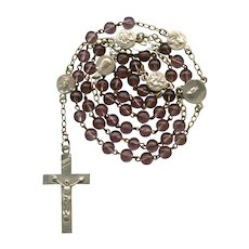 Vintage Grape Glass & Pater Medals Catholic Rosary