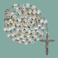 Vintage Aurora Borealis Glass Catholic Rosary | 53 Grams